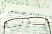 closeup of us tax form