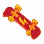 red skateboard cartoon doodle