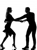 one caucasian couple woman man dancing dancers salsa rock in silhouette studio isolated on white bac