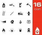 Vector black  firefighter icons set