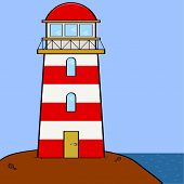 stock photo of brighten  - Cartoon illustration showing a lighthouse sitting on a cliff near the sea - JPG