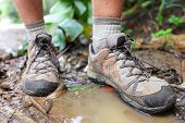 Hiking shoes on hiker in water puddle in rainforest. Man hikers hike boots in closeup. Male feet.