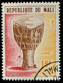 MALI - CIRCA 1973: A stamp printed by Mali, shows musical instrument  Dozo ngoni, circa 1973