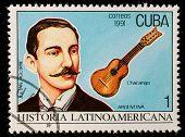 CUBA - CIRCA 1991: A post stamp printed CUBA show composer Julian Aguirre, circa 1991