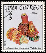 CUBA - CIRCA 1972: A stamp printed in Cuba shows a bwe, one stamp from series devoted folk musical instruments, circa 1972