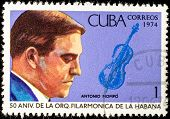CUBA - CIRCA 1974: A stamp printed in the Cuba, shows the portrait of a musician - Antonio Mompo, circa 1974