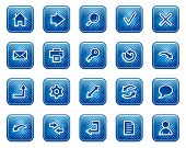 Basic web icons, blue square buttons with dots