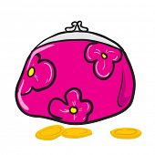 pink coin purse with flowers