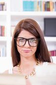 Female Geek Student With Glasses