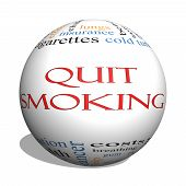 Quit Smoking Word Cloud Concept On A 3D Sphere