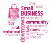 picture of local shop  - Small Business word cloud in support of local neighborhood community stores - JPG