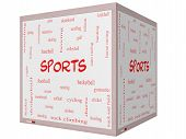 Sports Word Cloud Concept On A 3D Cube Whiteboard