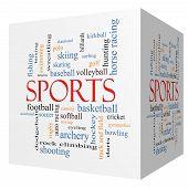 Sports 3D Cube Word Cloud Concept