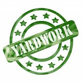 Green Weathered Yardwork Stamp Circles And Stars poster