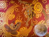 Dragon and Peacock Illustrations at Tibetan Buddhist Temple