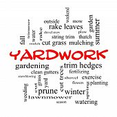 Yardwork Word Cloud Concept In Red Caps poster