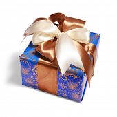 blue gift packing tied by ribbon, isolated on white with path