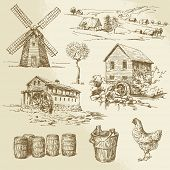 watermill and windmill - hand drawn illustration