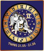 Twins Boys Zodiac Sign.horoscope Circle.retro Illustration