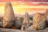 image of karnataka  - Virupaksha temple view from Hemakuta hill at sunset in Hampi Karnataka India - JPG