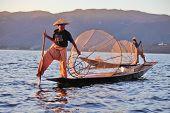 INLE LAKE, MYANMAR �¢�?�? DECEMBER 12, 2013: Fishermen at Inle Lake, Shan State, Myanmar Intha p