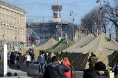 KIEV, UKRAINE - February 21, 2014: Ukrainian revolution. Euromaidan, life on the barricades.