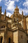 Segovia Cathedral, A Roman Catholic Religious Church In Segovia, Spain.