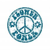 stock photo of hippies  - Blue grunge rubber stamp with two flower shapes - JPG