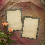 Grunge Ancient Used Paper In Scrapbooking Style With Roses