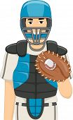 Illustration of a Man Dressed as a Baseball Catcher
