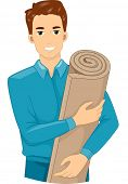Illustration of a Man Holding a Roll of Insulation Foam