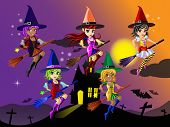 picture of night-blooming  - Cute Witches Riding on a Broom in Halloween night - JPG