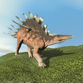 Kentrosaurus dinoasaur roaring - 3D render