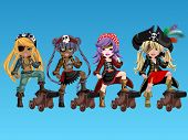 foto of pirate girl  - Pirate girls with fantasy outfits on background - JPG
