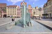Wroclaw. The Fountain In The Market Square