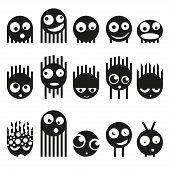 Set of cute monsters, vector