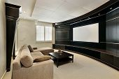 pic of home theater  - Theater room in luxury home with wide screen - JPG