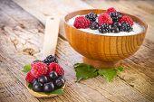 Yogurt With Wild Berries In Wooden Bowl