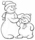 Snowmens mother and son, contours