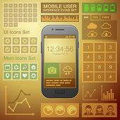 Flat Mobile UI User Interface Design Elements Kit. Vector