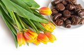 Tulips And Chocolate Candies