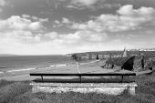 Bench On A Cliff Edge In Black & White