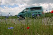 Van On The Way, Country Road With Red Poppy And Corn Flowers