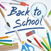 Back To School Supplies Tools Vector Background