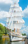 KLAIPEDA, LITHUANIA - JULY 25: Danes quay - Sailing vessel Meridianas on July 25, 2014 Klaipeda, Lit