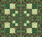 Quilt arrangement with cotton squares for a quilt