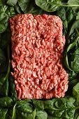minced meat with spinach