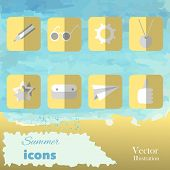 The summer set icons on watercolor background