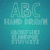 Hand draw doodle abc alphabet vector letters