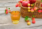Glass With Juice And Apples In A Basket